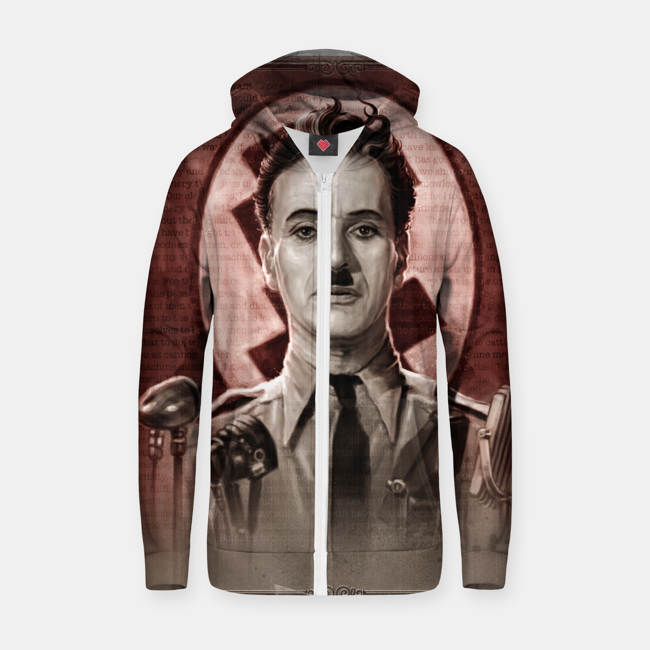 Image of The Great Dictator - Charlie Chaplin Cotton zip up hoodie - Live Heroes