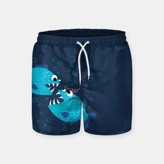 Thumbnail image of Funny Piranha Fish Gossiping Swim Shorts, Live Heroes