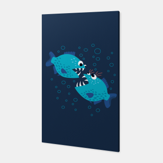 Thumbnail image of Funny Piranha Fish Gossiping Canvas, Live Heroes