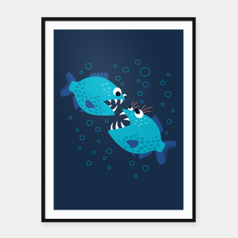Thumbnail image of Funny Piranha Fish Gossiping Framed poster, Live Heroes