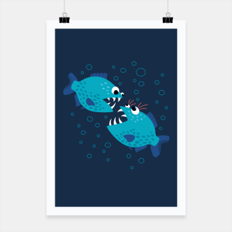 Thumbnail image of Funny Piranha Fish Gossiping Poster, Live Heroes