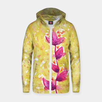 Abstract Purple Watercolor Flower Cotton zip up hoodie thumbnail image