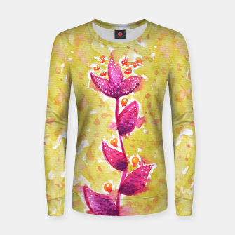 Abstract Purple Watercolor Flower Woman cotton sweater thumbnail image