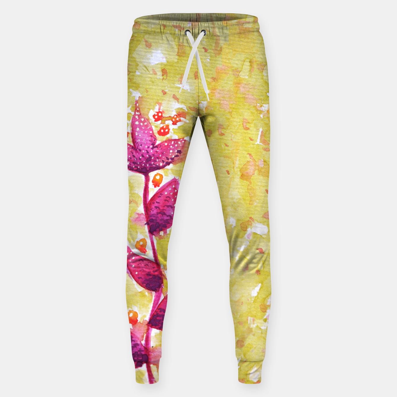 Image of Abstract Purple Watercolor Flower Cotton sweatpants - Live Heroes