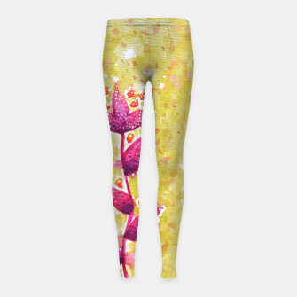 Thumbnail image of Abstract Purple Watercolor Flower Girl's leggings, Live Heroes