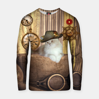 Thumbnail image of Steampunk, beautiful cat with steampunk hat, clocks and gears Cotton sweater, Live Heroes
