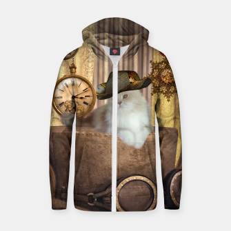 Thumbnail image of Steampunk, beautiful cat with steampunk hat, clocks and gears Cotton zip up hoodie, Live Heroes