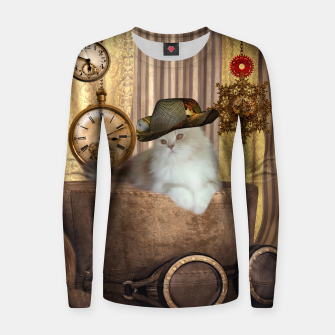 Thumbnail image of Steampunk, beautiful cat with steampunk hat, clocks and gears Woman cotton sweater, Live Heroes