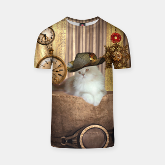 Thumbnail image of Steampunk, beautiful cat with steampunk hat, clocks and gears T-shirt, Live Heroes