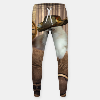 Thumbnail image of Steampunk, beautiful cat with steampunk hat, clocks and gears Cotton sweatpants, Live Heroes