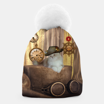 Thumbnail image of Steampunk, beautiful cat with steampunk hat, clocks and gears Beanie, Live Heroes