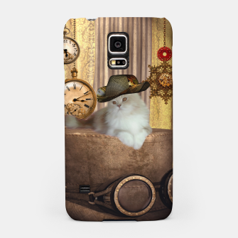 Thumbnail image of Steampunk, beautiful cat with steampunk hat, clocks and gears Samsung Case, Live Heroes
