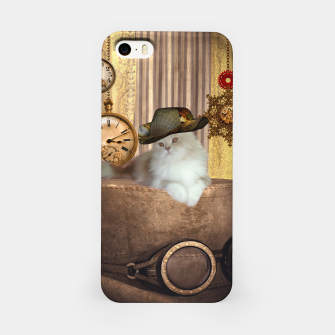 Thumbnail image of Steampunk, beautiful cat with steampunk hat, clocks and gears iPhone Case, Live Heroes