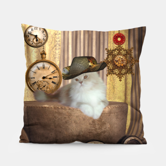 Thumbnail image of Steampunk, beautiful cat with steampunk hat, clocks and gears Pillow, Live Heroes