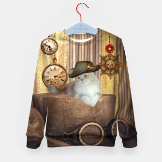 Miniaturka Steampunk, beautiful cat with steampunk hat, clocks and gears Kid's sweater, Live Heroes