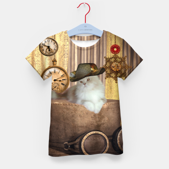 Thumbnail image of Steampunk, beautiful cat with steampunk hat, clocks and gears Kid's t-shirt, Live Heroes