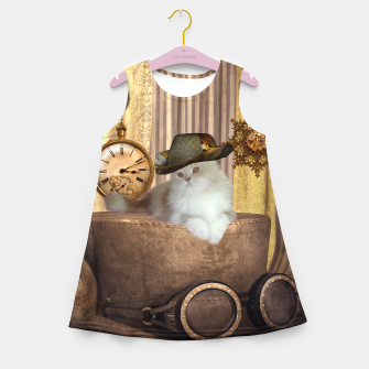 Miniature de image de Steampunk, beautiful cat with steampunk hat, clocks and gears Girl's summer dress, Live Heroes