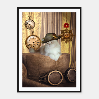Thumbnail image of Steampunk, beautiful cat with steampunk hat, clocks and gears Framed poster, Live Heroes
