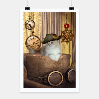 Thumbnail image of Steampunk, beautiful cat with steampunk hat, clocks and gears Poster, Live Heroes