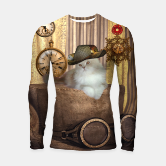 Thumbnail image of Steampunk, beautiful cat with steampunk hat, clocks and gears Longsleeve rashguard , Live Heroes