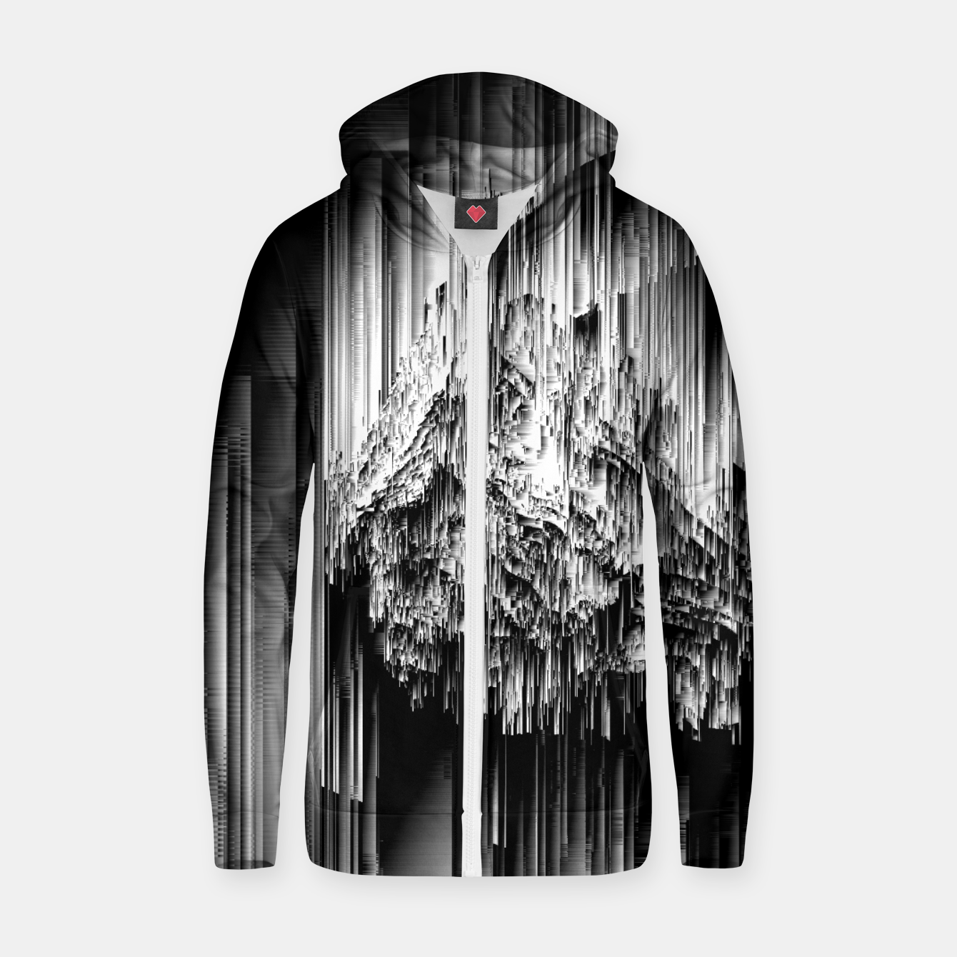 Image of Haunted Static - Glitchy Pixel Abstract Art Cotton zip up hoodie - Live Heroes
