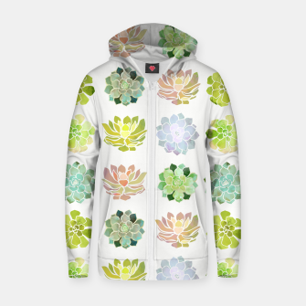 Thumbnail image of Spring Succulents Cotton zip up hoodie, Live Heroes