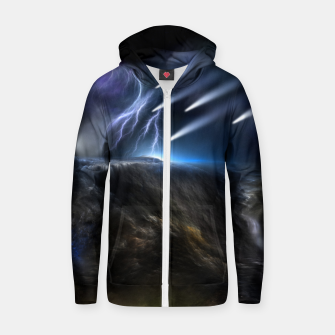 Thumbnail image of Meteors Fractal Art Cotton zip up hoodie, Live Heroes