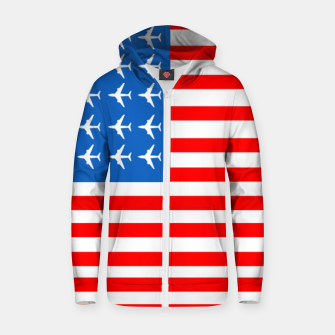 Thumbnail image of USA Airplane Flag Cotton zip up hoodie, Live Heroes