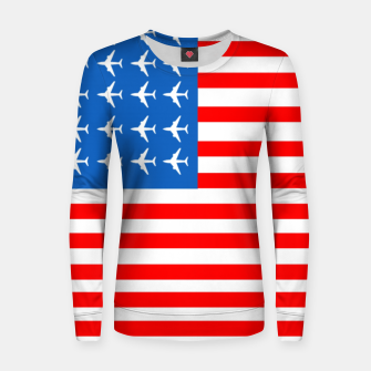 Thumbnail image of USA Airplane Flag Woman cotton sweater, Live Heroes