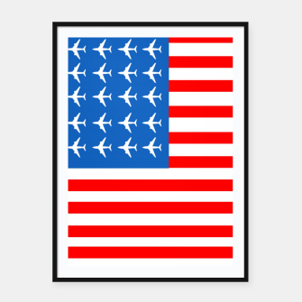Thumbnail image of USA Airplane Flag Framed poster, Live Heroes