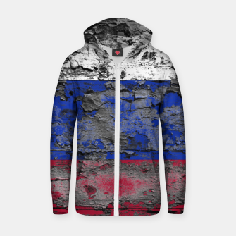 Thumbnail image of Grunge Vintage Ripped Russia Flag Cotton zip up hoodie, Live Heroes