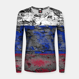 Thumbnail image of Grunge Vintage Ripped Russia Flag Woman cotton sweater, Live Heroes