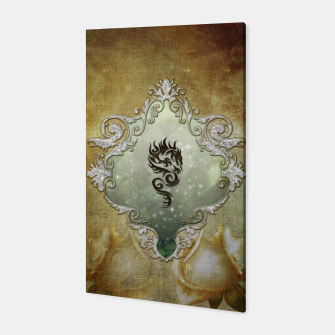 Miniatur Wonderful tribal dragon on vintage background Canvas, Live Heroes