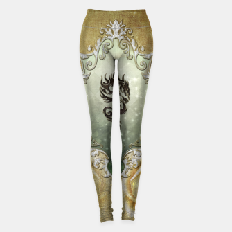 Imagen en miniatura de Wonderful tribal dragon on vintage background Leggings, Live Heroes