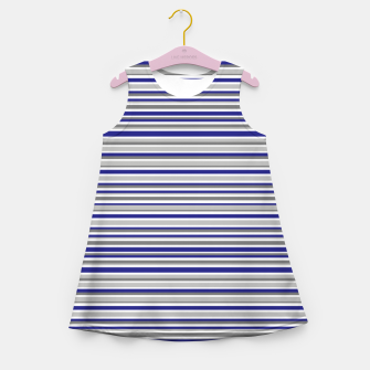 Miniature de image de Dark Blue Gray Stripes Girl's summer dress, Live Heroes