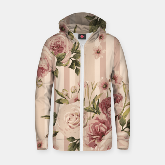Thumbnail image of Flowers and Stripes Two Cotton zip up hoodie, Live Heroes