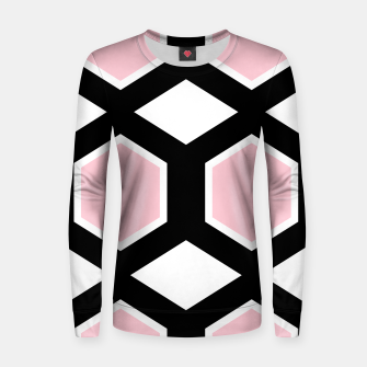 Thumbnail image of Woman cotton sweater, pink black Hexagons, Live Heroes