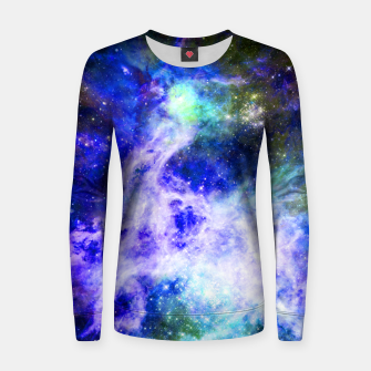 Blue space Woman cotton sweater miniature