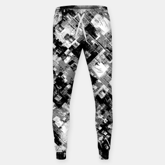 Thumbnail image of Black and White Patchwork Grunge Cotton sweatpants, Live Heroes
