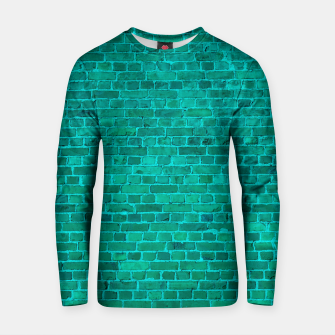 Bright Neon Aqua Blue Brick Wall Cotton sweater miniature