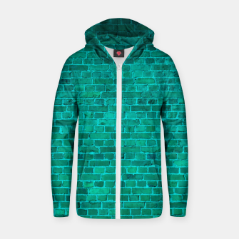 Bright Neon Aqua Blue Brick Wall Cotton zip up hoodie miniature