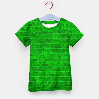 Thumbnail image of Bright Neon Green Brick Wall Kid's t-shirt, Live Heroes