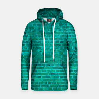 Bright Neon Aqua Blue Brick Wall Cotton hoodie miniature