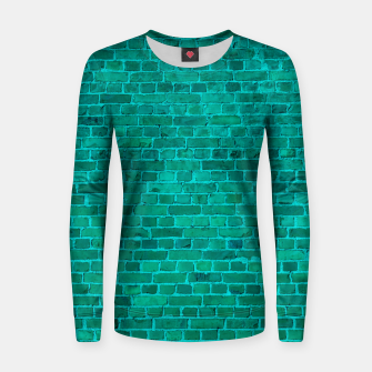Bright Neon Aqua Blue Brick Wall Woman cotton sweater miniature