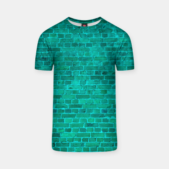 Bright Neon Aqua Blue Brick Wall T-shirt miniature