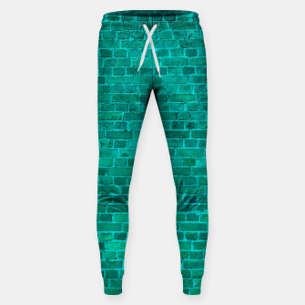 Bright Neon Aqua Blue Brick Wall Cotton sweatpants miniature