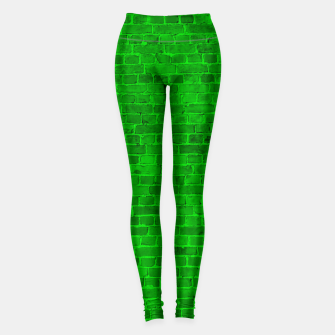 Miniaturka Bright Neon Green Brick Wall Leggings, Live Heroes