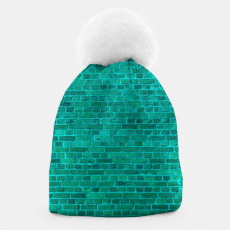 Bright Neon Aqua Blue Brick Wall Beanie miniature