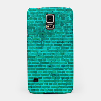 Bright Neon Aqua Blue Brick Wall Samsung Case miniature