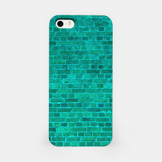 Bright Neon Aqua Blue Brick Wall iPhone Case miniature